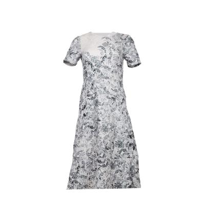 floral pattern flare long dress white
